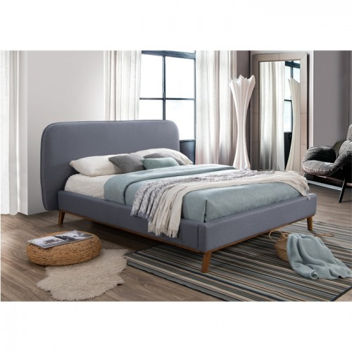 Lit double Modjo 140x190 cm en tissu bleu gris