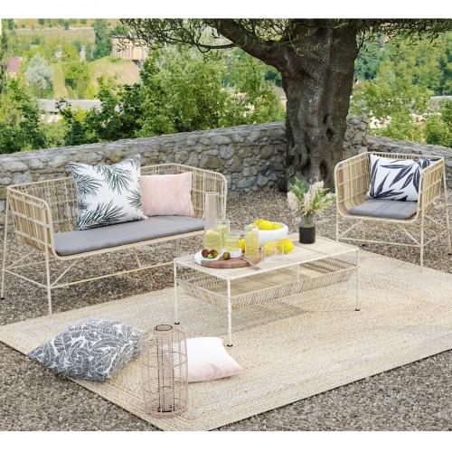 Table basse de jardin Paraiso en rotin naturel