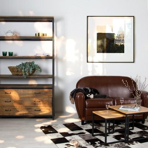 Bibliothèque Paname en bois et métal à tiroirs
