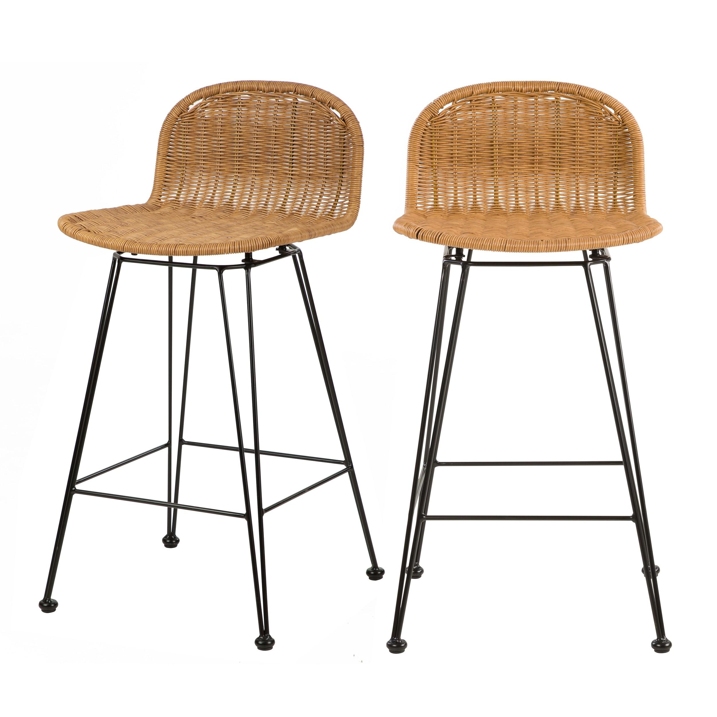 acheter chaise de bar en resine tressee naturelle lot de 2