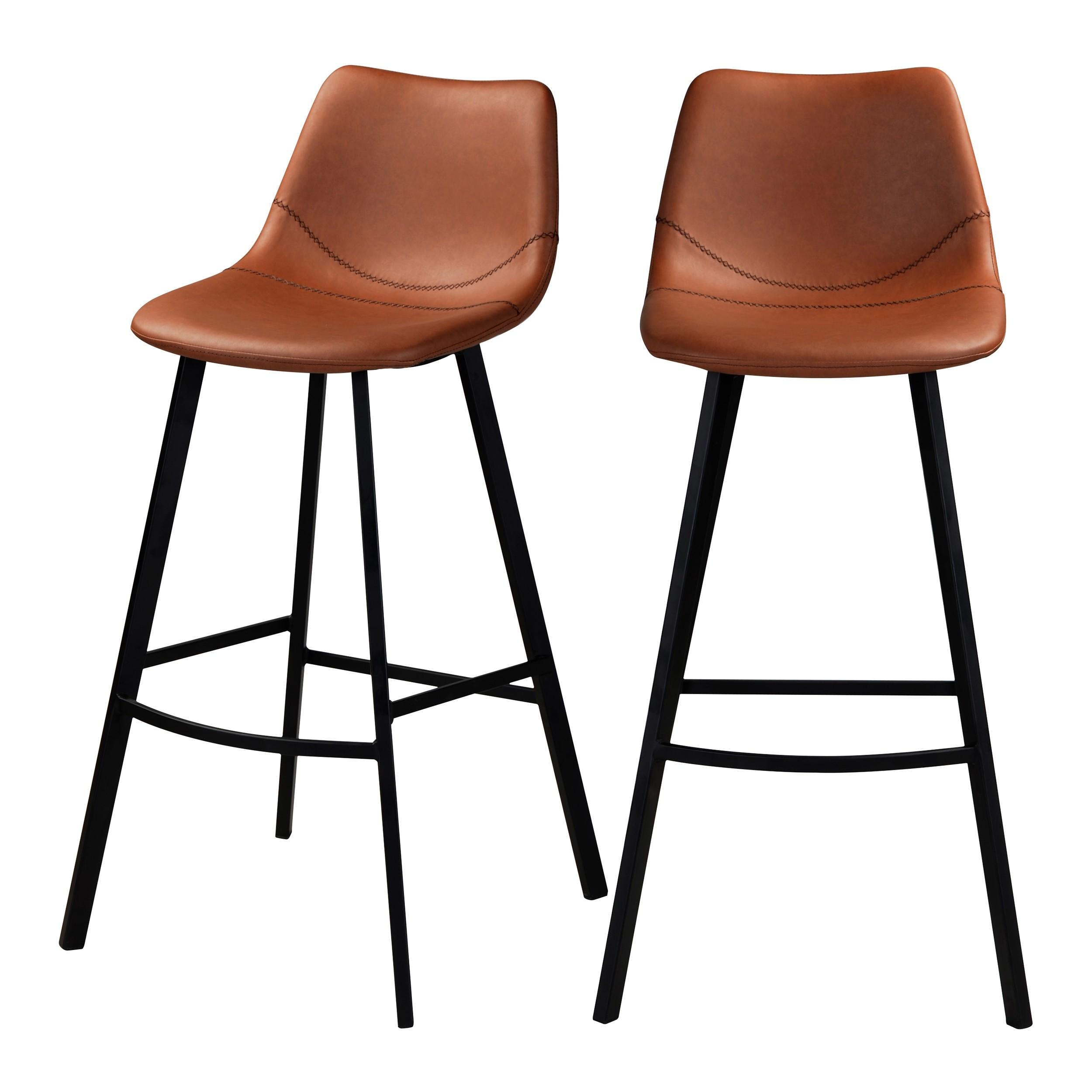 acheter chaise de bar marron cuir synthetique lot de 2