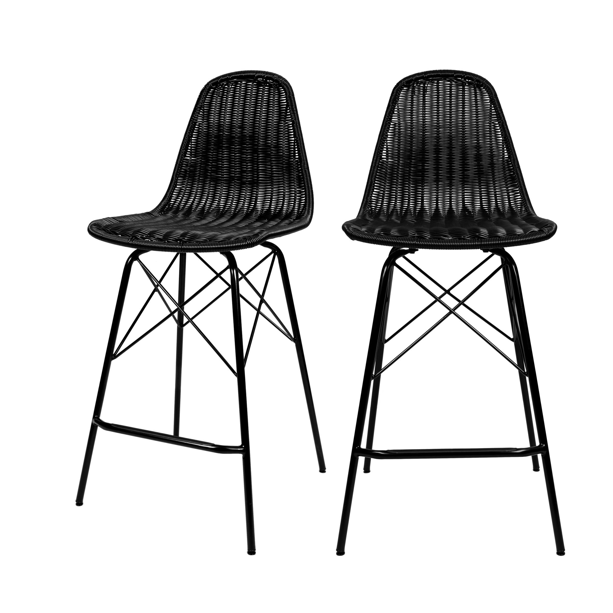 acheter chaise de bar noires lot de 2