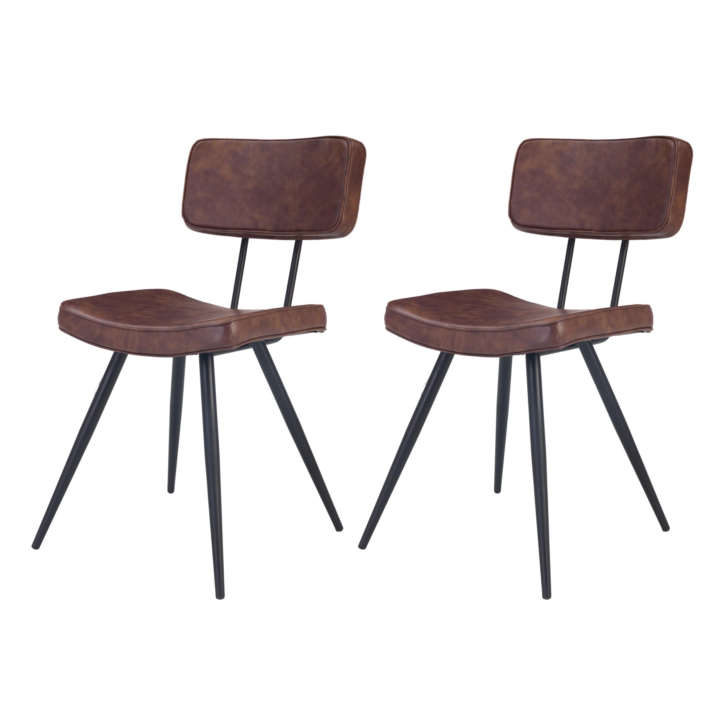 acheter chaise lot de 2 marron