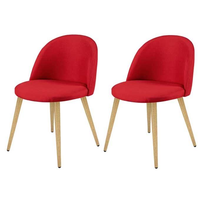 acheter chaise rouge tissu lot de 2