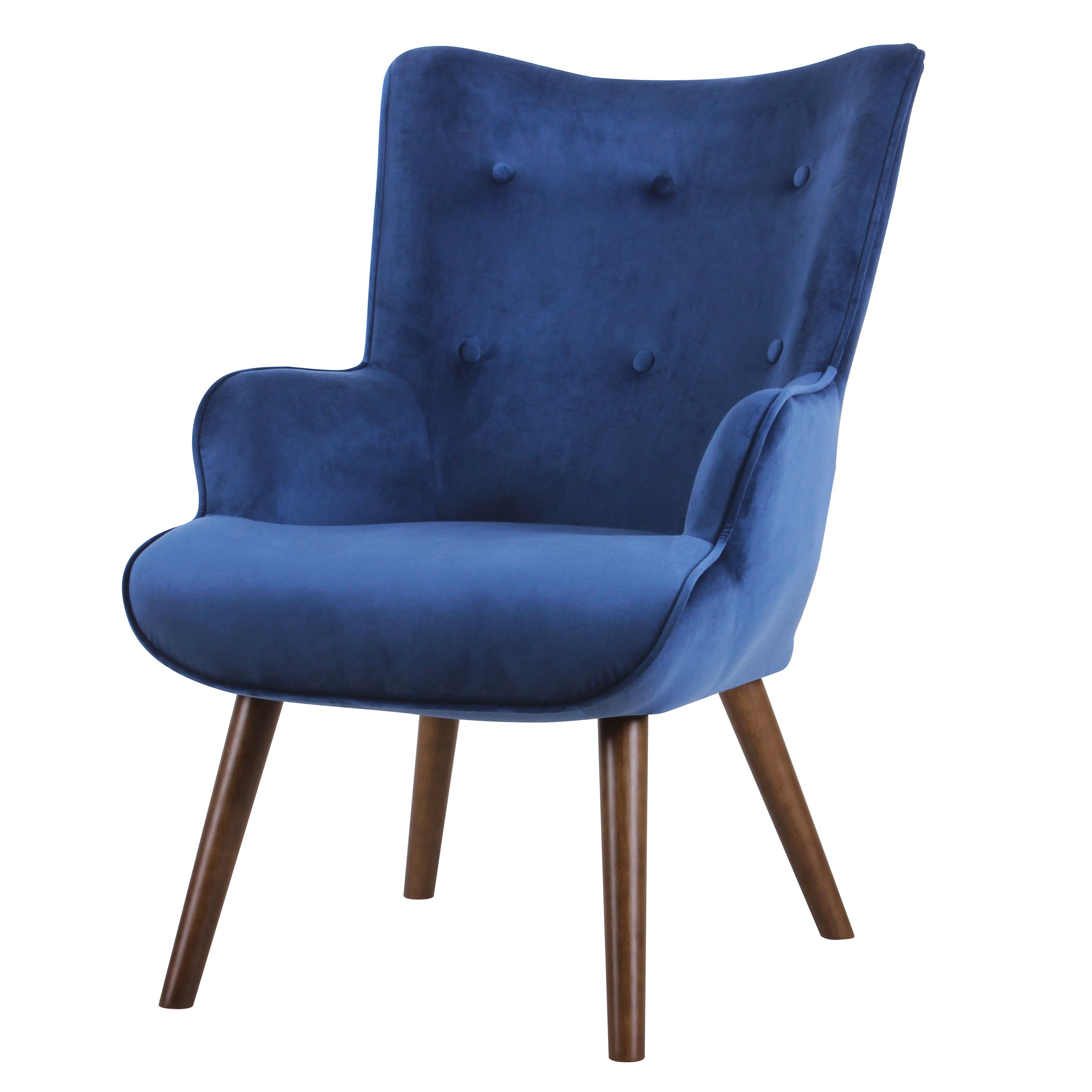 acheter fauteuil bleu velours pieds fonces