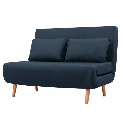 achat canape 2 places bleu tissu et bois