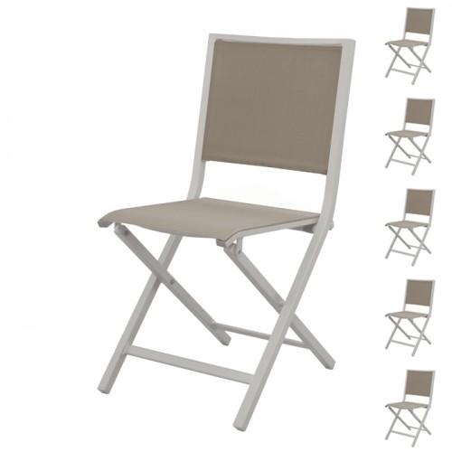 achat chaise de jardin pliante taupe et blanche