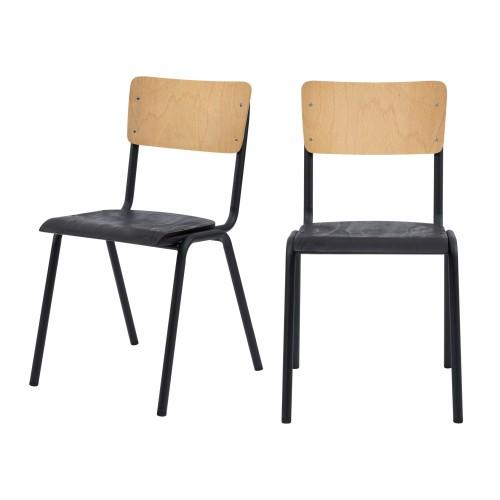Chaise Clem en bois noir (lot de 2)