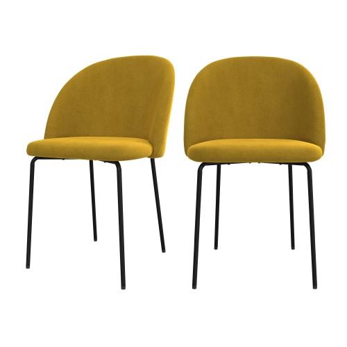 Chaise Karl en velours jaune moutarde (lot de 2)
