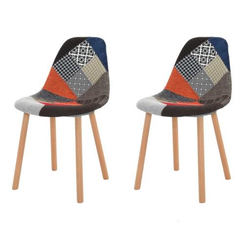 achat chaise tissu patchwork pieds bois petit prix lot 2