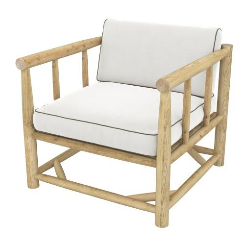 achat fauteuil de jardin avec coussin blanc