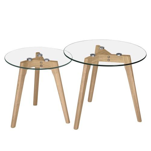 achat tables basses lot de 2 plateau verre