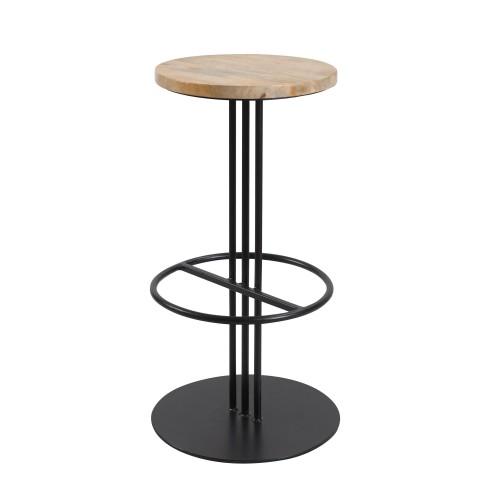 achat tabouret de bar assise bois pied metal