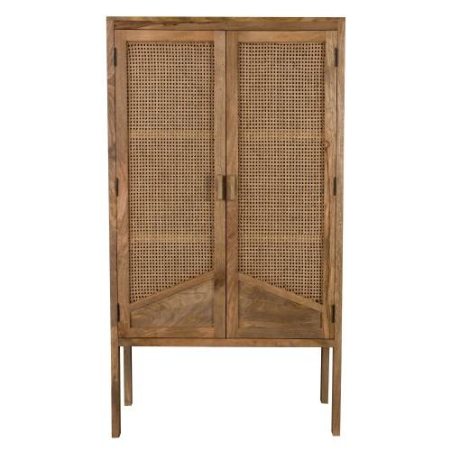 Armoire Tiki en cannage 2 portes en bois