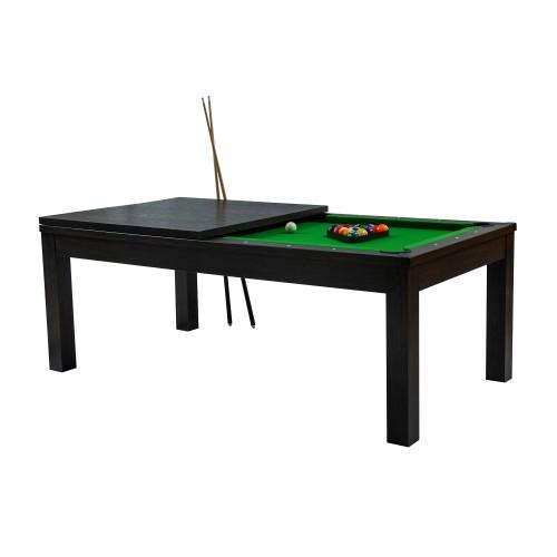 Table de Billard convertible bois foncé tapis vert
