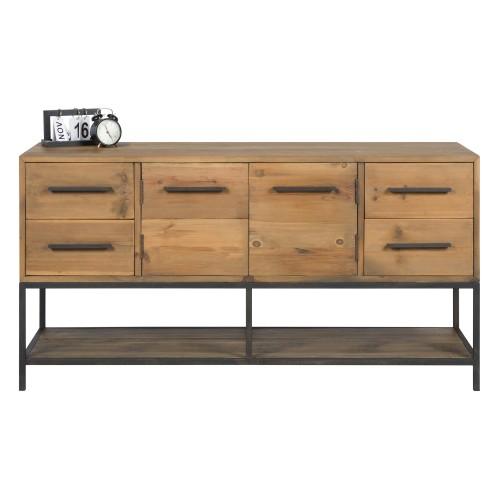 acheter buffet industriel en bois porte tiroir