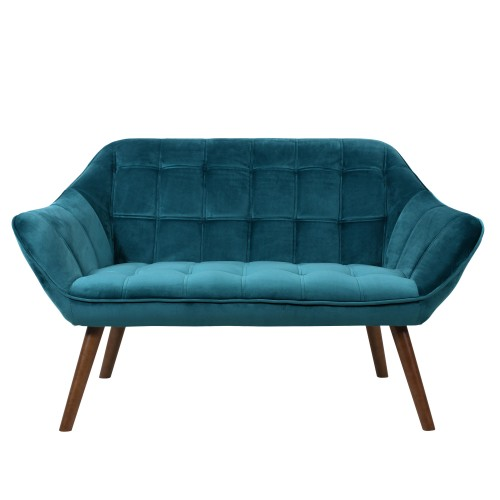 acheter canape 2 places velours turquoise