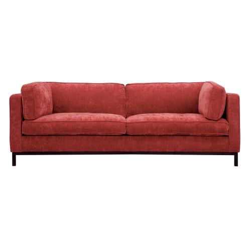 acheter canape 3 places en tissu effet velours rouge