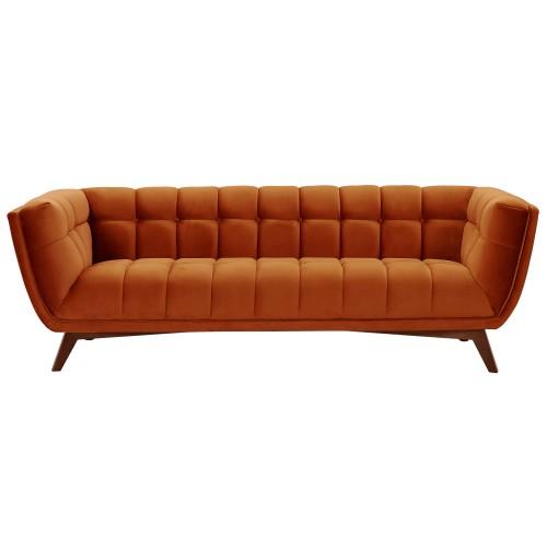 Canapé Mona 3 places en velours orange curcuma