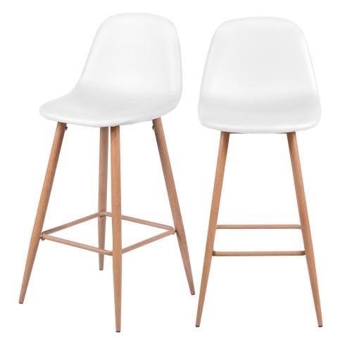 Chaise de bar Rodrik blanche 73 cm (lot de 2)