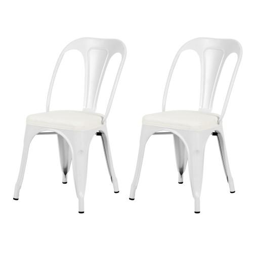 acheter chaise blanche industrielle lot de 2