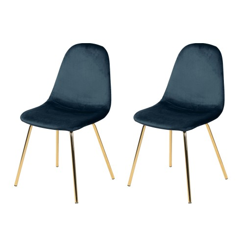 acheter chaise bleu velours pieds dores