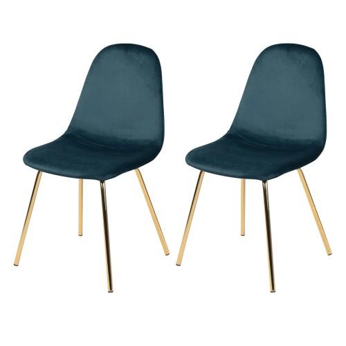 Chaise Skuli en velours bleu (lot de 2)
