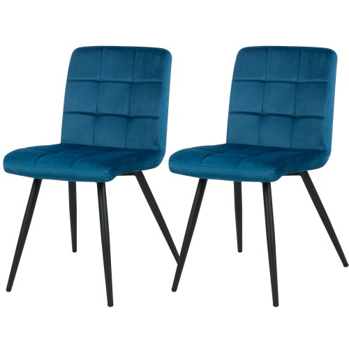 Chaise Zola en velours bleu (lot de 2)