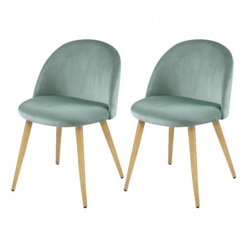 acheter chaise confort velours vert bleu