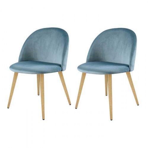 Chaise Cozy en velours bleu turquoise (lot de 2)