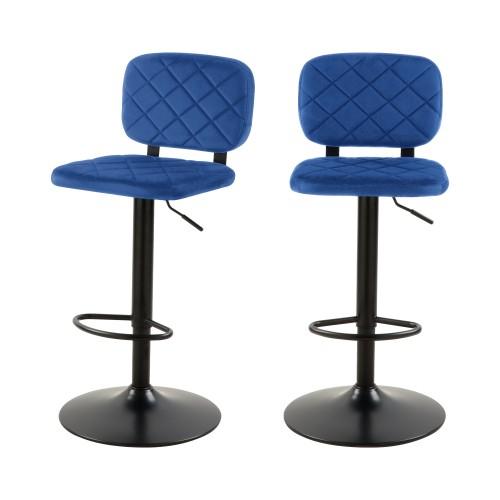 acheter chaise de bar bleu velours