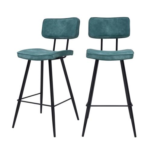 acheter chaise de bar bleue cuir synthetique lot de 2