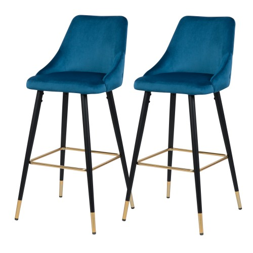 Chaise de bar Aristote en velours bleu (lot de 2)