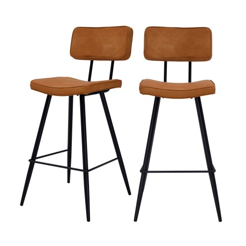 acheter chaise de bar camel cuir synthetique lot de 2