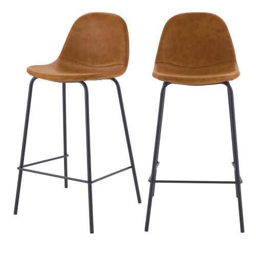 acheter chaise de bar camel en cuir synhetique pieds metal lot de 2