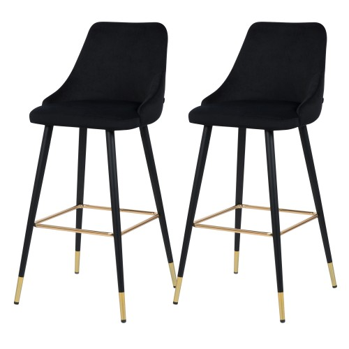 Chaise de bar Aristote en velours noir 77.5 cm (lot de 2)