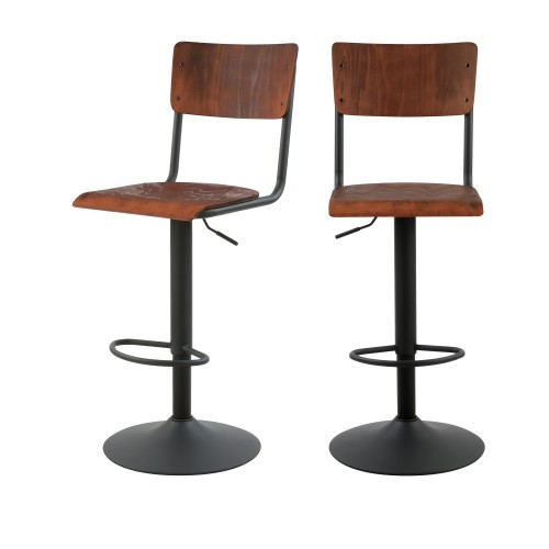 acheter chaise de bar ecolier bois naturel et metal lot de 2