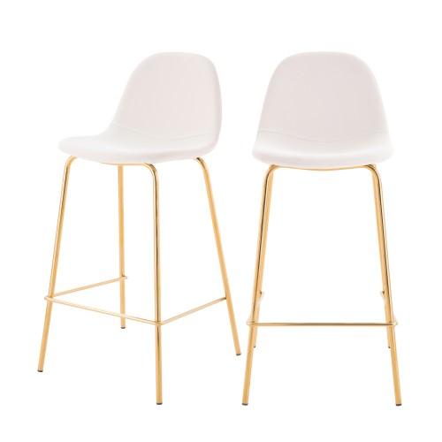 acheter chaise de bar en cuir synthetique blanche pieds dores lot de 2
