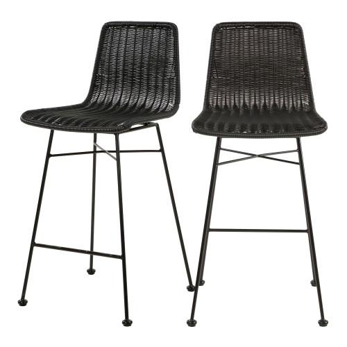acheter chaise de bar en matiere naturelle noire tresse lot de 2