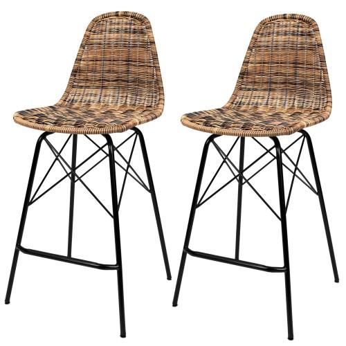Chaise de bar Tiptur en résine tressée naturelle 63 cm (lot de 2)