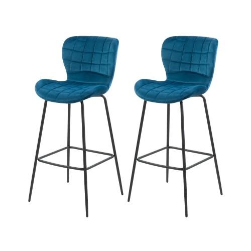 acheter chaise de bar en velours bleu