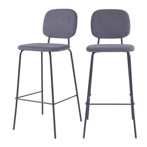 Chaise de bar Jade grise H75cm (lot de 2)
