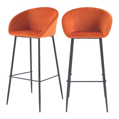 acheter chaise de bar en velours orange pieds metal lot de 2