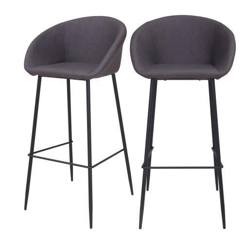 acheter chaise de bar gris fonce confortable lot de 2