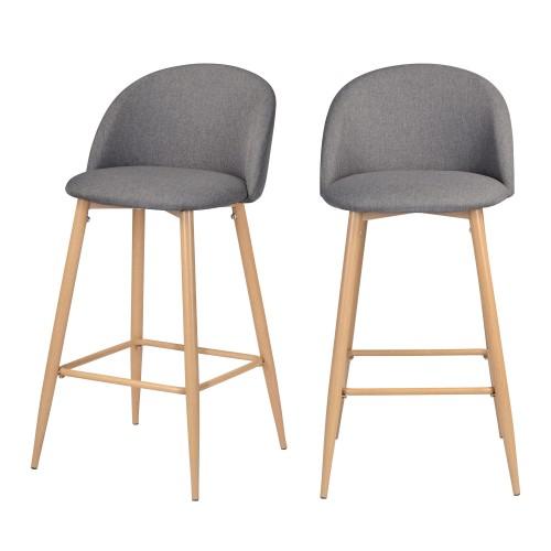 acheter chaise de bar grise lot de 2