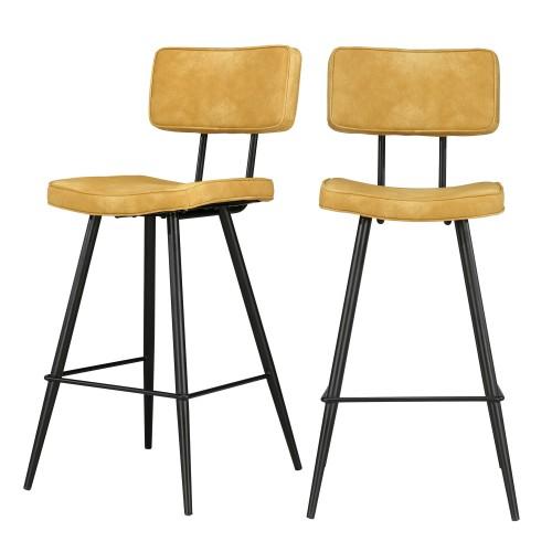 acheter chaise de bar jaune synthetique