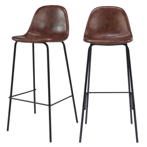 acheter chaise de bar marron cuir synthétique lot de 2