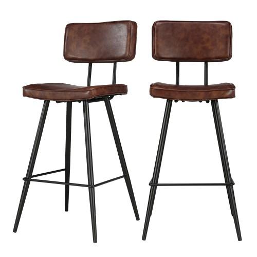 acheter chaise de bar marron cuir synthetiuqe