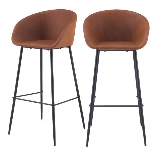 Chaise de bar Kalba marron 75 cm (lot de 2)