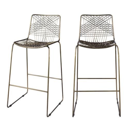 acheter chaise de bar metal design lot de 2